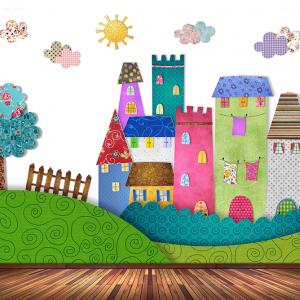 Huisjes op het gras behang voor uw babykamer
