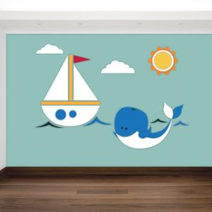 Walvis en bootje behang voor uw kinderkamer
