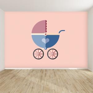 Kinderwagen design behang voor uw babykamer