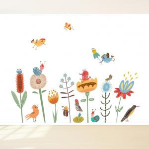 Bloemetjes design behang voor uw babykamer