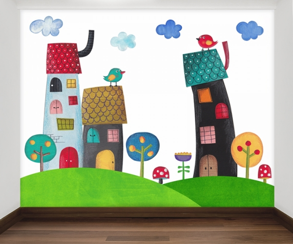 Vrolijke huisjes behang voor uw babykamer