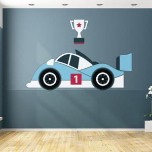 Raceauto behang design voor uw babykamer