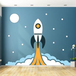 Raket met sterren behang voor uw babykamer