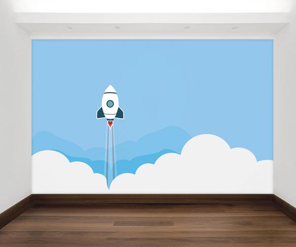 Raket design behang voor uw babykamer