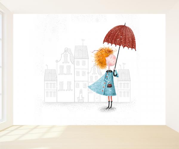 Meisje met paraplu behang voor uw babykamer
