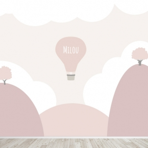 Luchtballon landschap meisjes behang