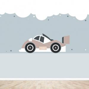 Raceauto behang voor uw babykamer