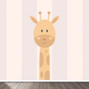 Giraffe roze behang voor uw babykamer