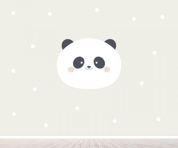Panda neutraal behang voor babykamer